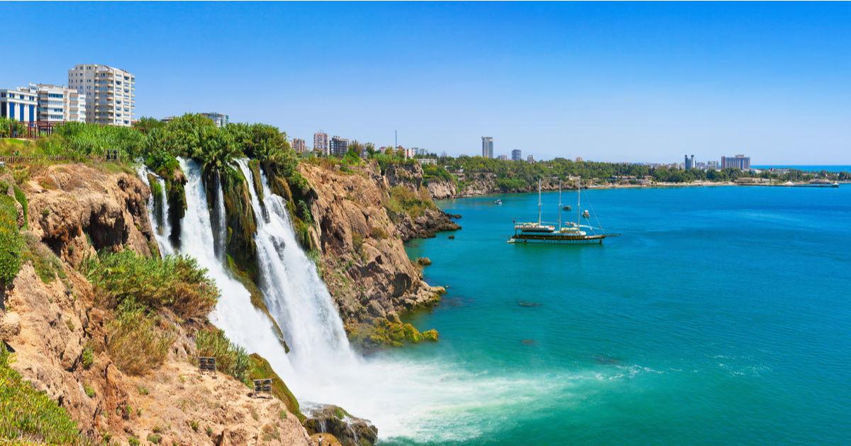 lower düden waterfall in antalya in turkey