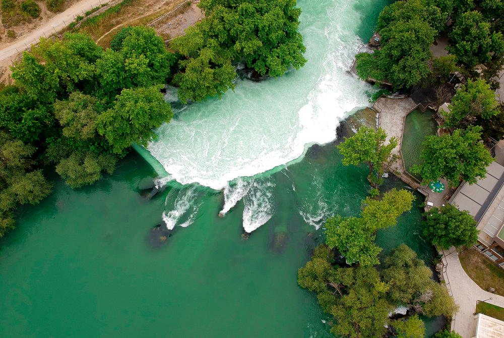 manavgat waterfall drone in Antalya in Turkey