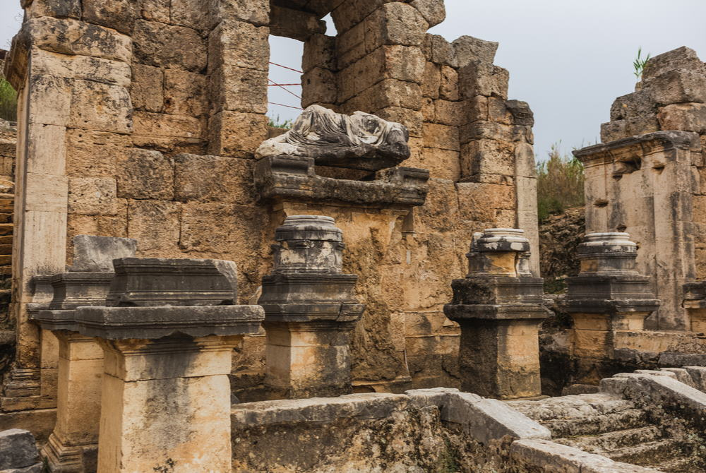 Monumental Fountain Nymphaeum at Perge Ancient Site in Antalya in Turkey