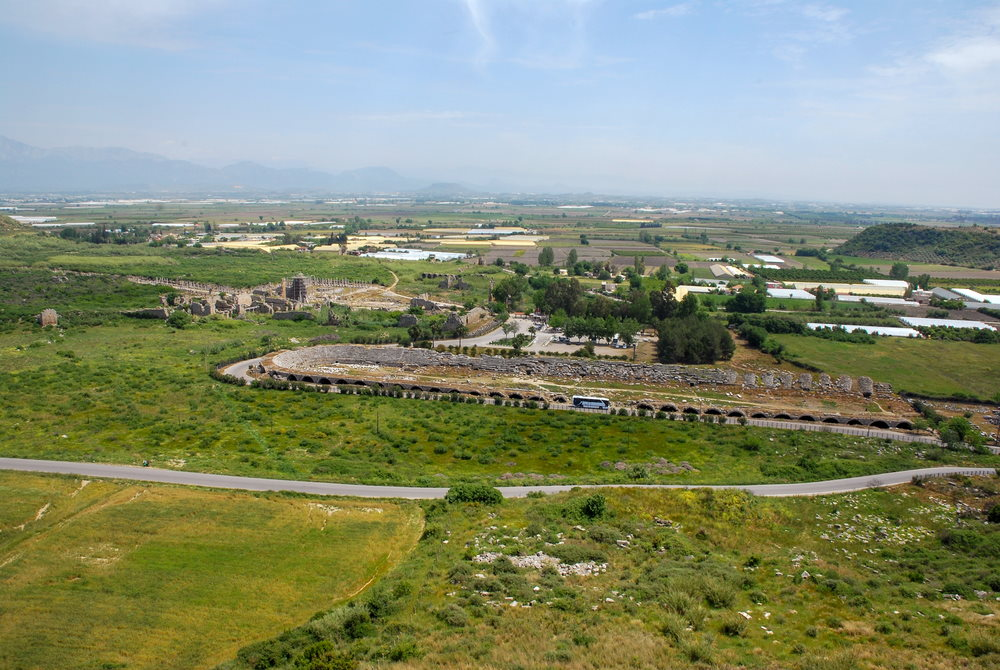 Aerial View of Road to Perge Ancient Site in Antalya in Turkey