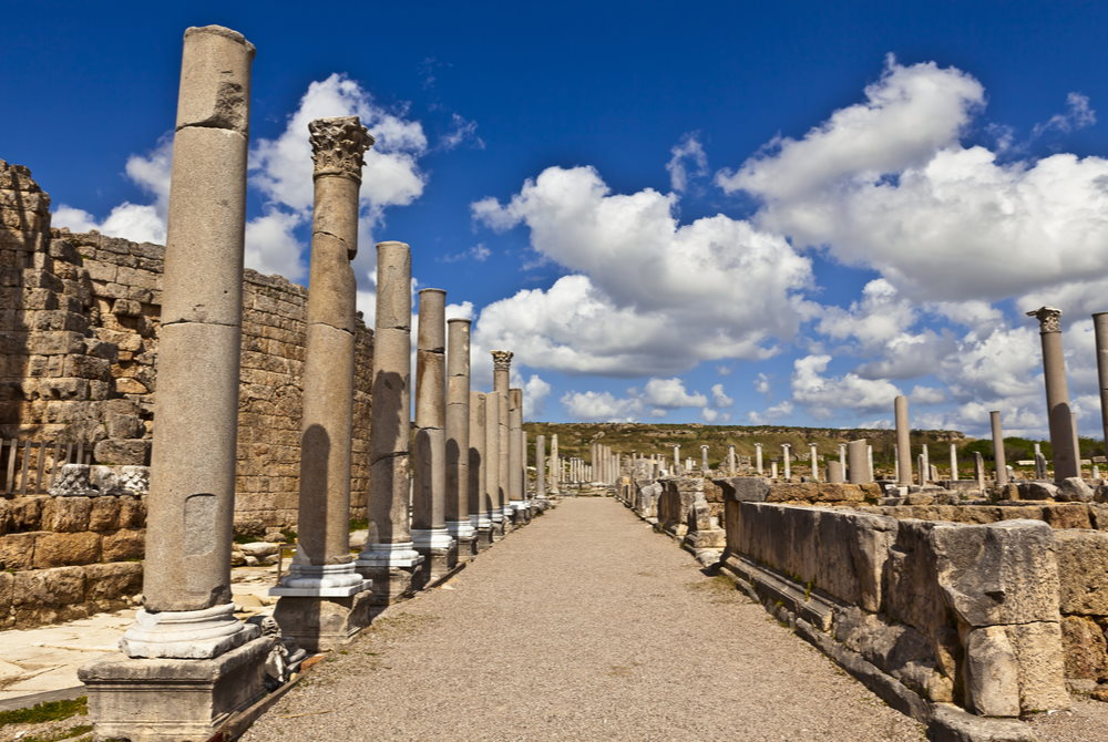 Agora Ruins at Perge Ancient Site in Antalya in Turkey