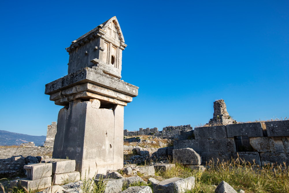 Tombs at Xanthos Ancient Site in Antalya in Turkey