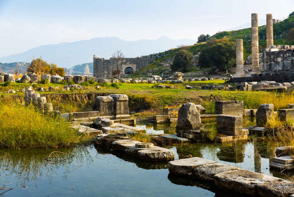 Temple of Leto in Letoon Ancient Site in Fethiye in Turkey