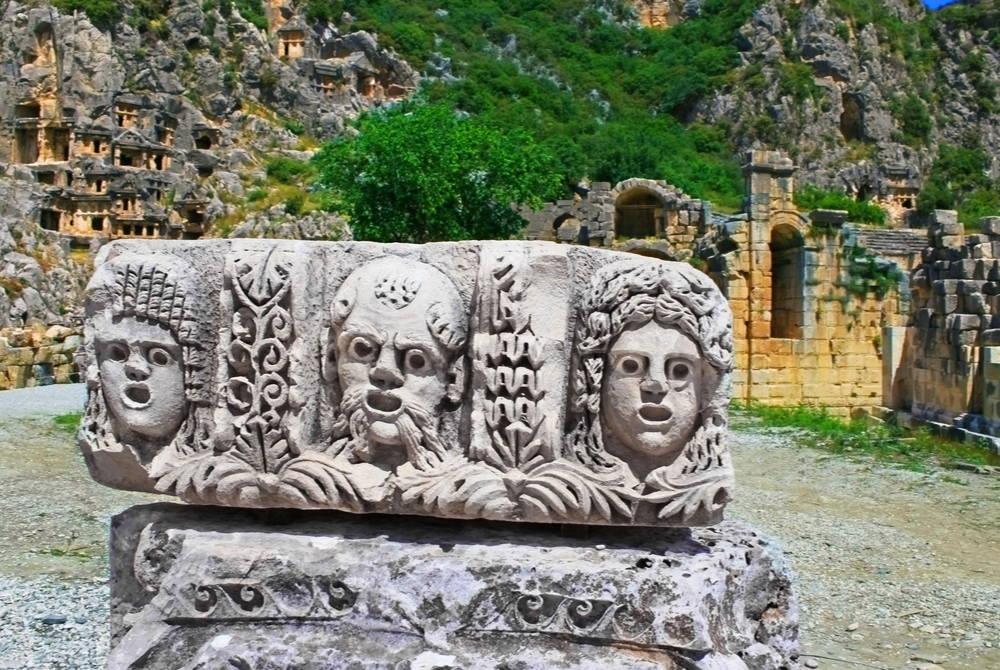 Masks at Myra in Antalya in Turkey