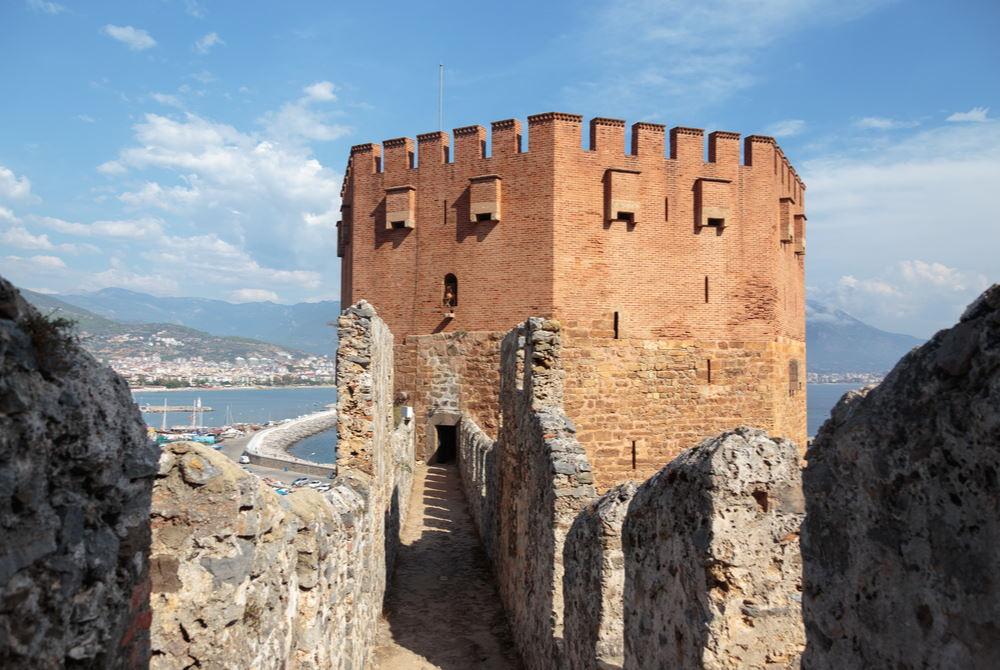 red tower in alanya in Antalya in Turkey