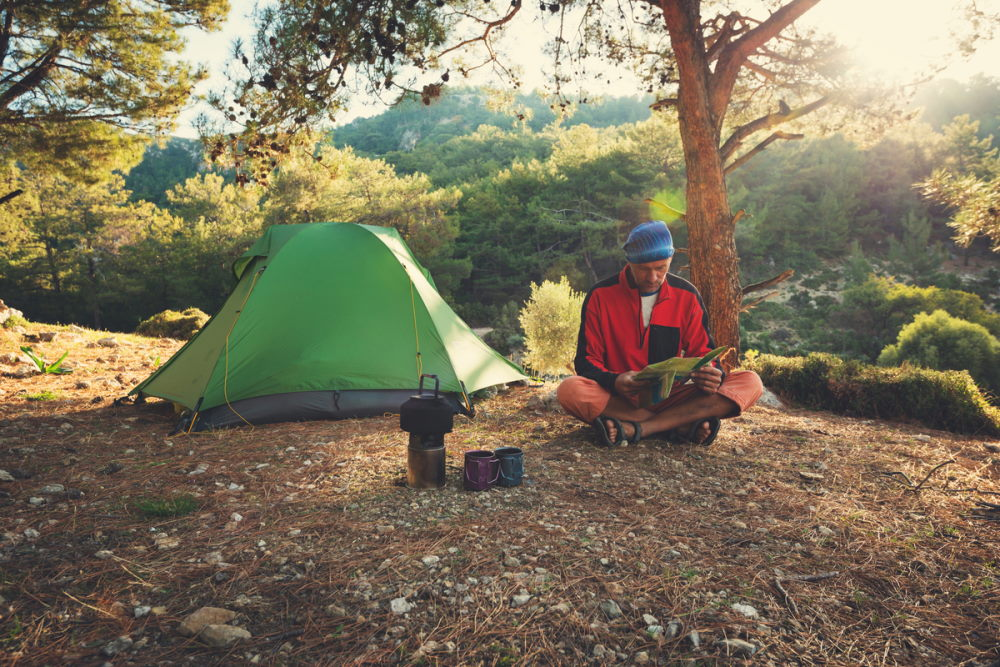 Camp during adventure travel along Lycian way in Turkey