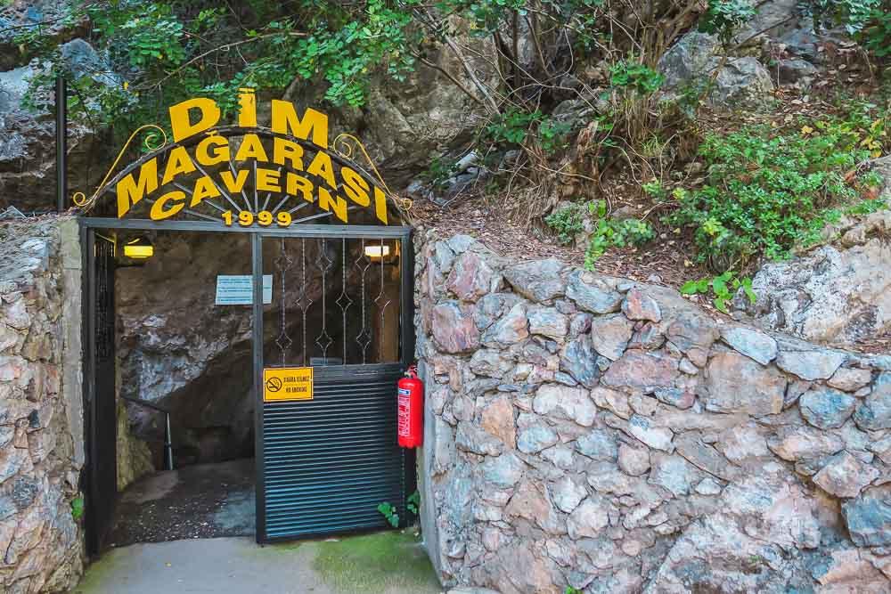 Entrance to Dim Cave in Alanya in Antalya in Turkey