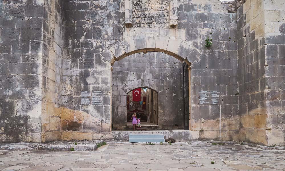 Entrance of Alara Han in Antalya in Turkey