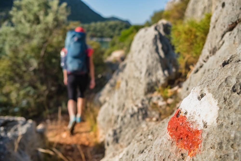 Path markings on the Lycian Way in Antalya in Turkey