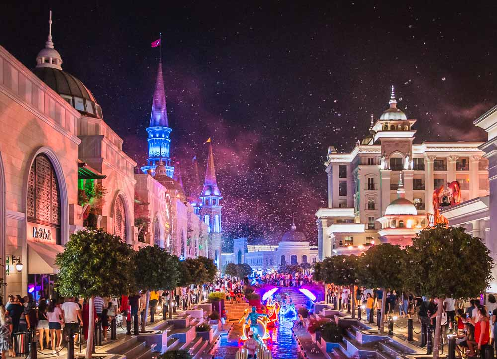 The Land of Legends Theme Park ath Night in Turkey