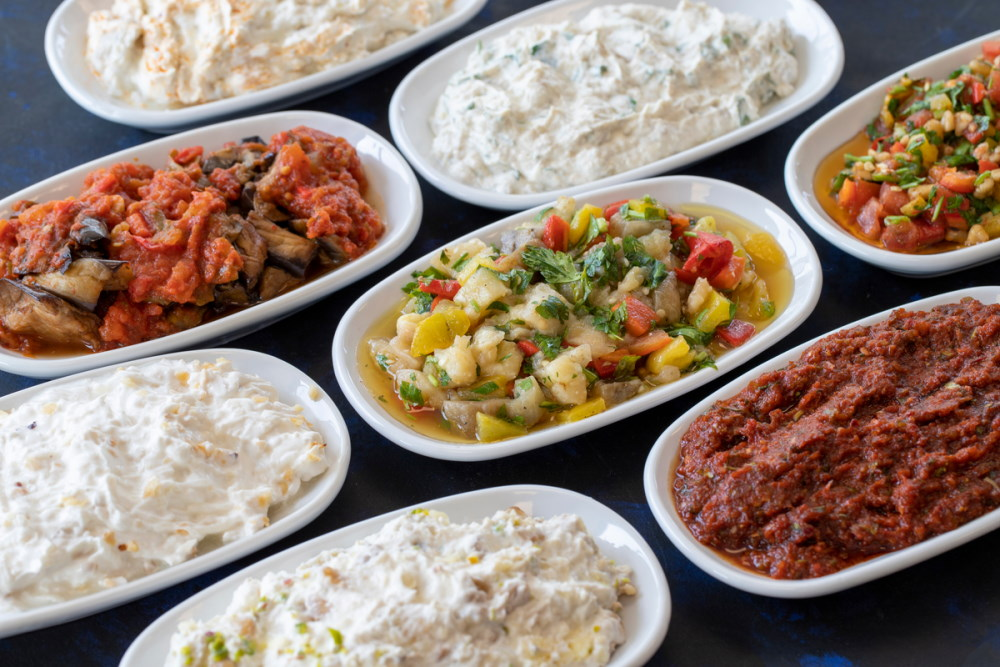 Traditional Turkish food appetizer table