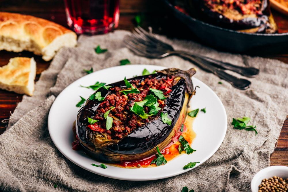 Traditional dish Karniyarik of turkish cuisine
