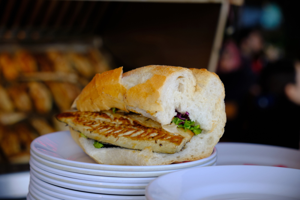 Traditional fish sandwich in turkish cuisine
