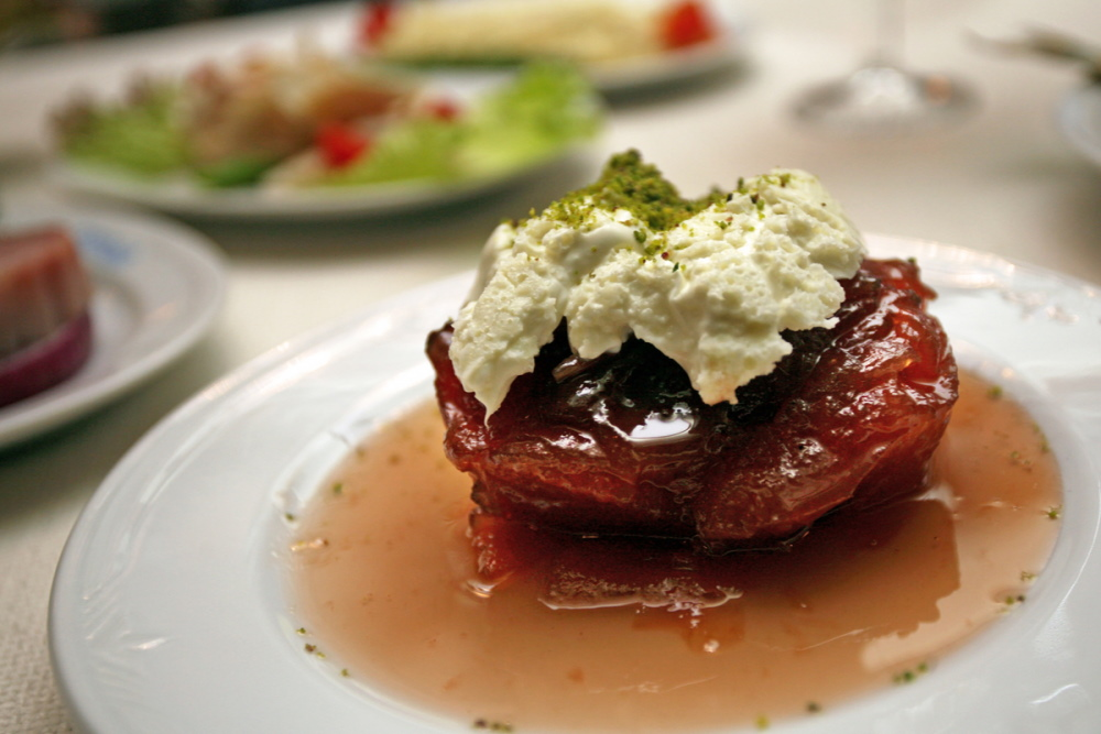 Turkish traditional dessert 'Quince Dessert'