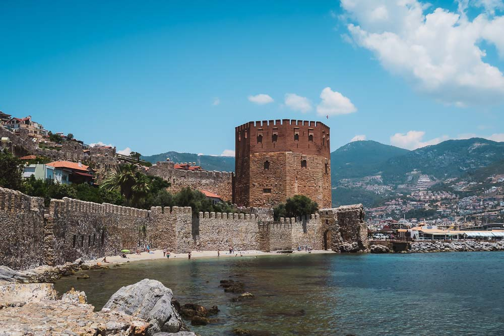 View from Seljuk Shipyard at Red Tower in Alanya in Turkey