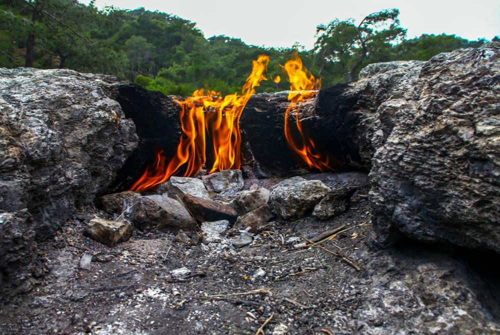 eternal flame in yanartas in antalya in turkey
