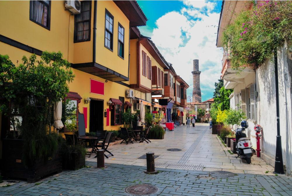 kaleici streets in antalya in turkey