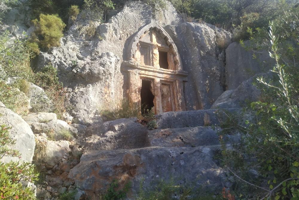 Rock Cut Tombs in Antiphelllos in Kas in Antalya in Turkey