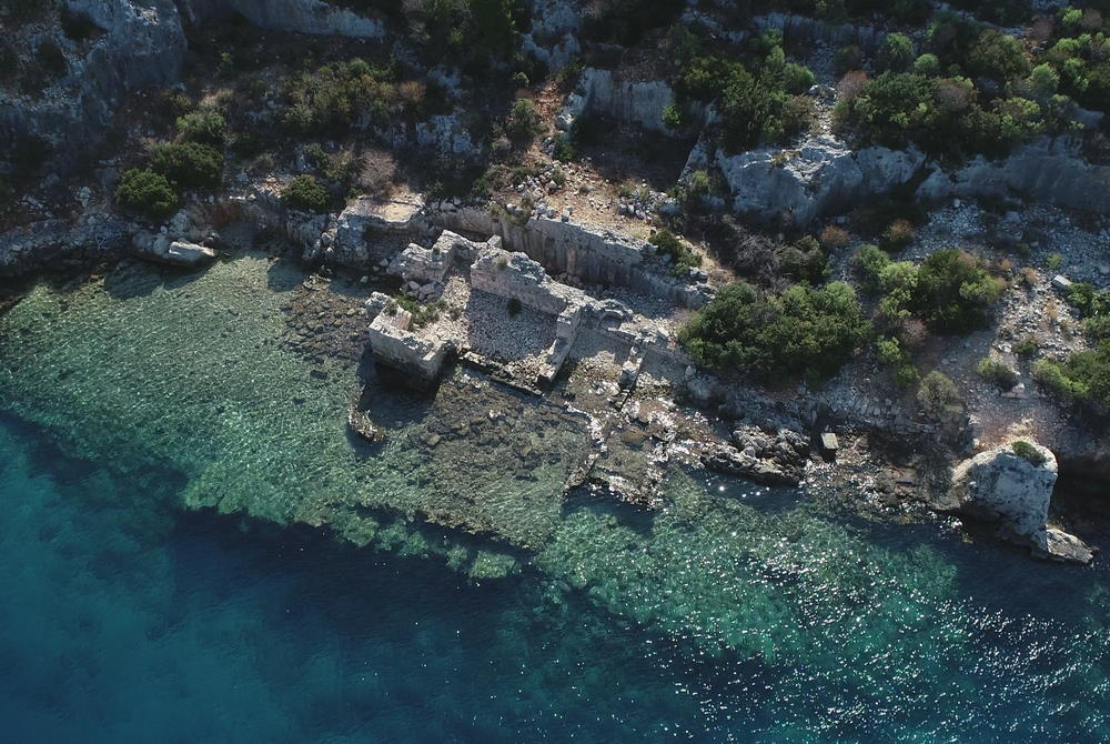 Aerial view of Sunken Basilica at Simena in Antalya in Turkey