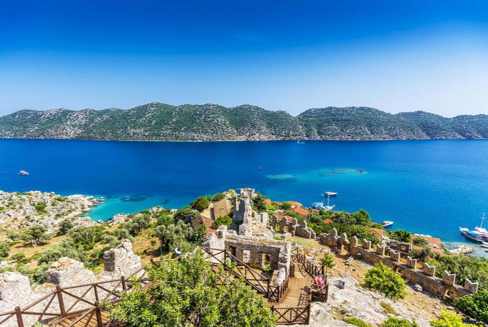 Simena Kalekoy Ancient City in Antalya in Turkey