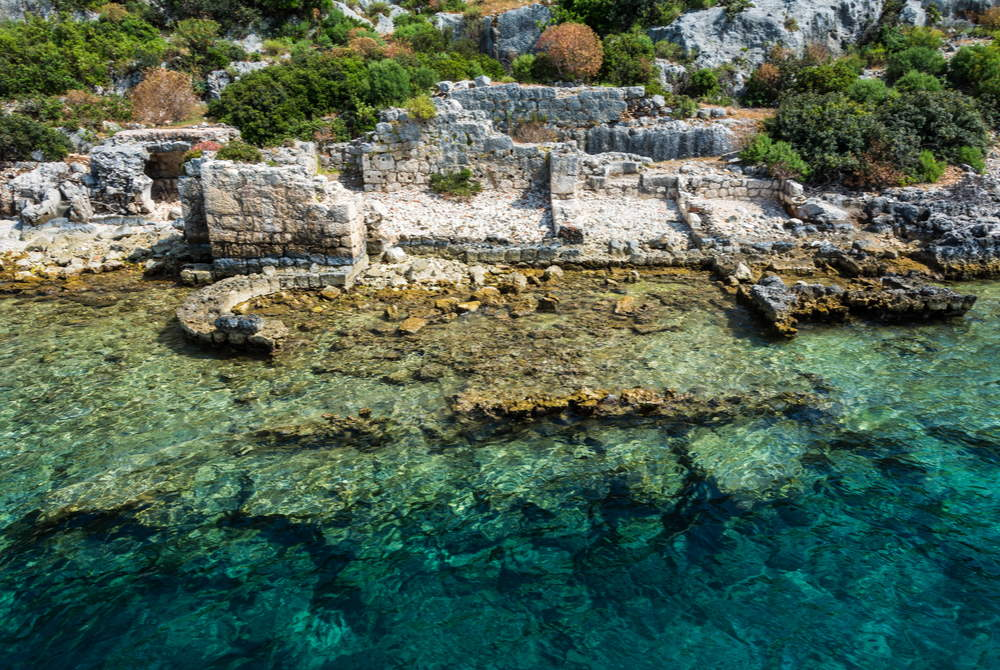Sunken Basilica at Simena in Kalekoy in Antalya in Turkey