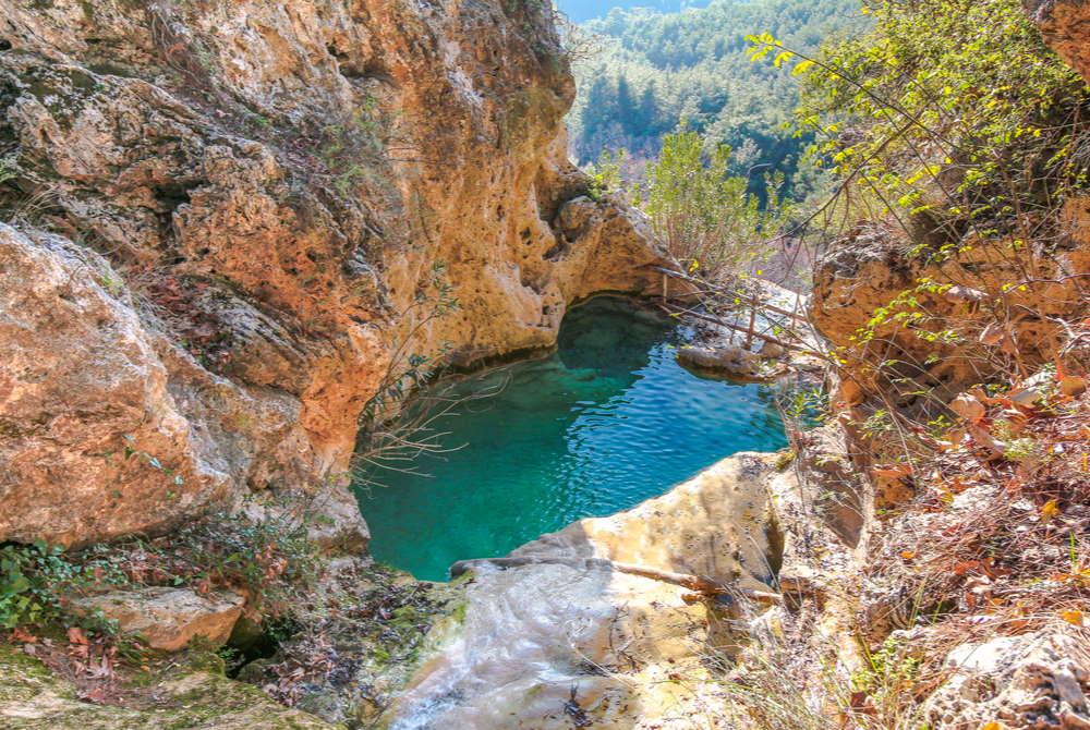 ucansu waterfall kings pool in Antalya in Turkey