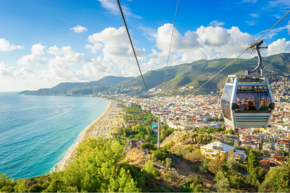 Alanya Cityscape from a funicular cart in Turkey