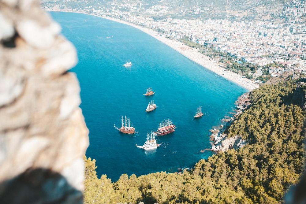 Landscape view from Alanya Castle in Alanya in Antalya inTurkey