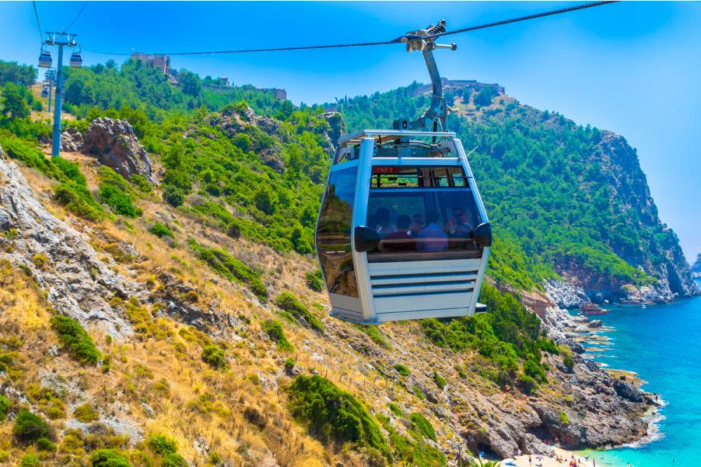 Cable car over Cleopatra beach in Alanya in Antalya in Turkey