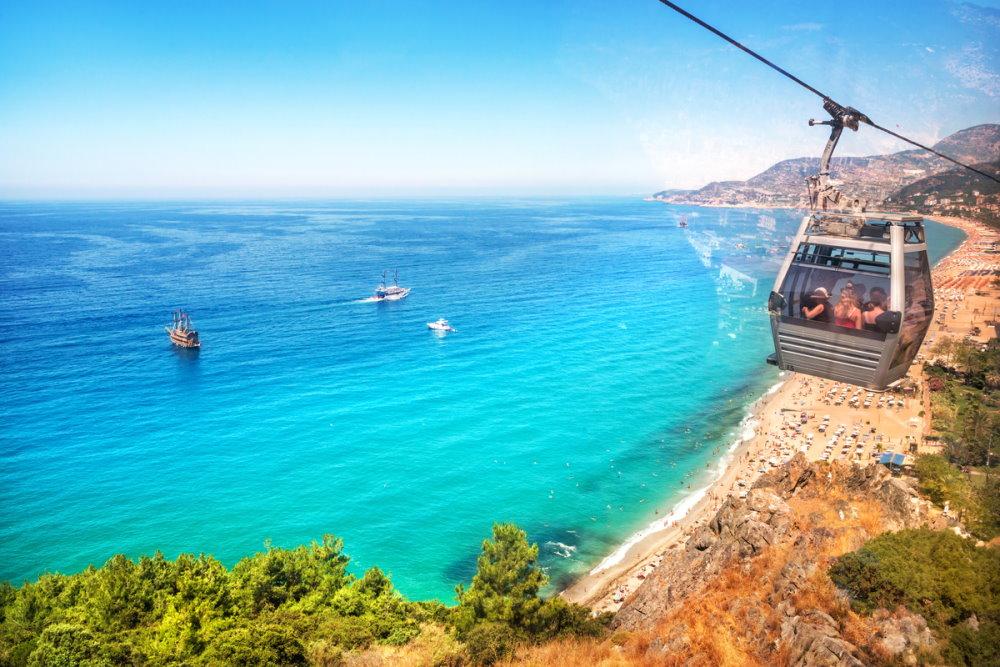Damlataş Beach Cable Car in Antalya in Turkey