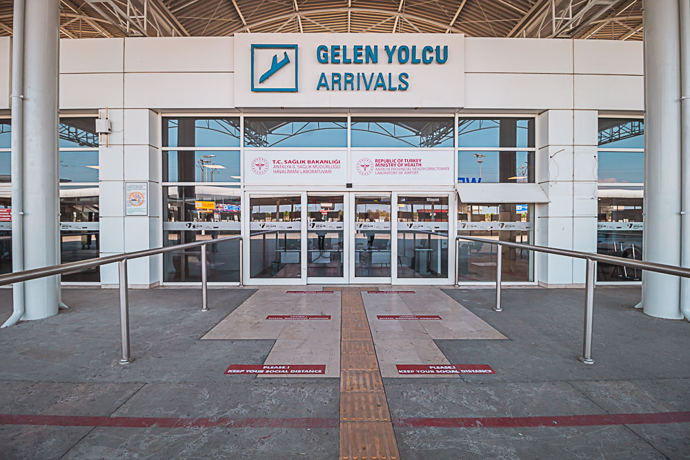 Entrance to the Covid-19 Test Center at Antalya Airport