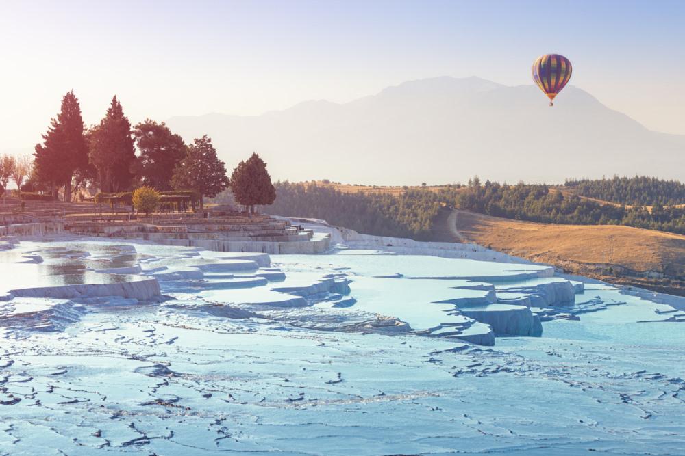 Hot Air Balloon in Pamukkale in Turkey