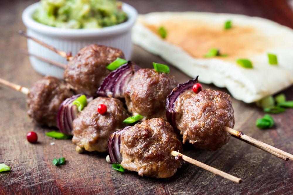 Meatball Skewers in Antalya in Turkey