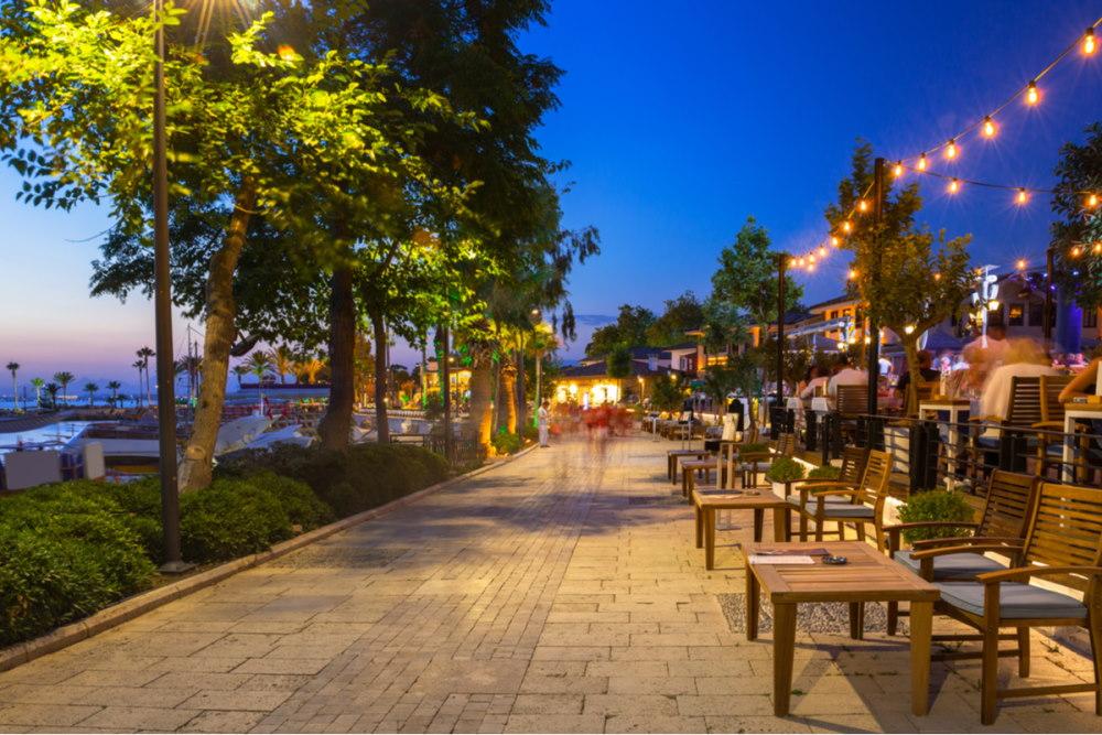 Nightlife in Side old town in Antalya Turkey