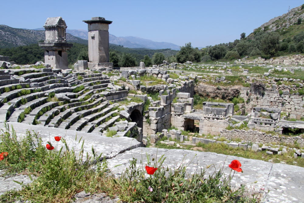 Ruins of Ancient Theater at Xanthos in Antalya in Turkey
