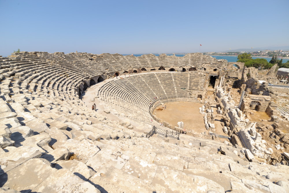 Ruins of old theater in Side, Turkey