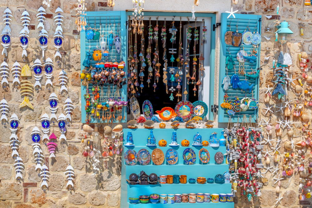 Shopping in Side Old Town in Antalya Turkey