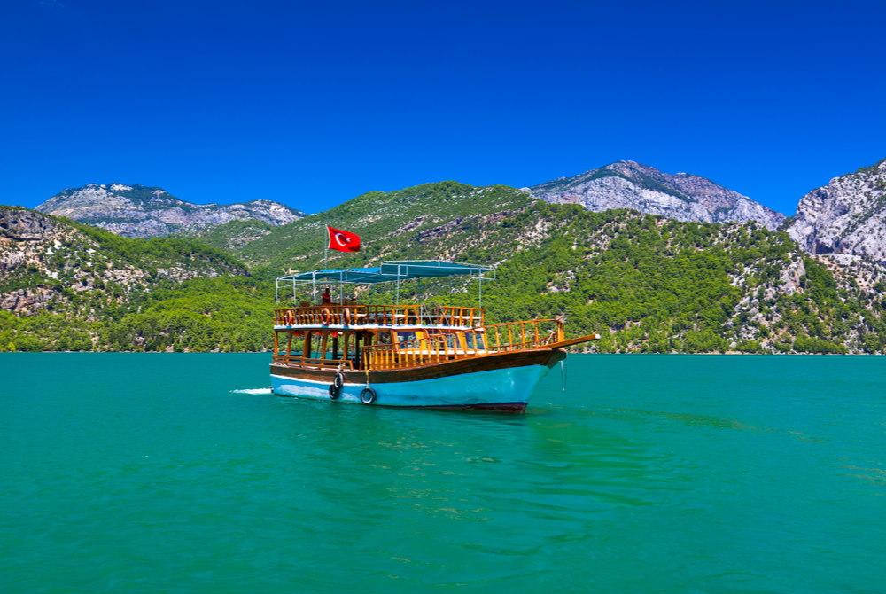 boat cruise manavgat river in Antalya in Turkey