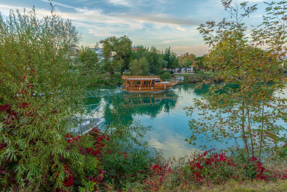 boat on the manavgat river in Antalya in Turkey