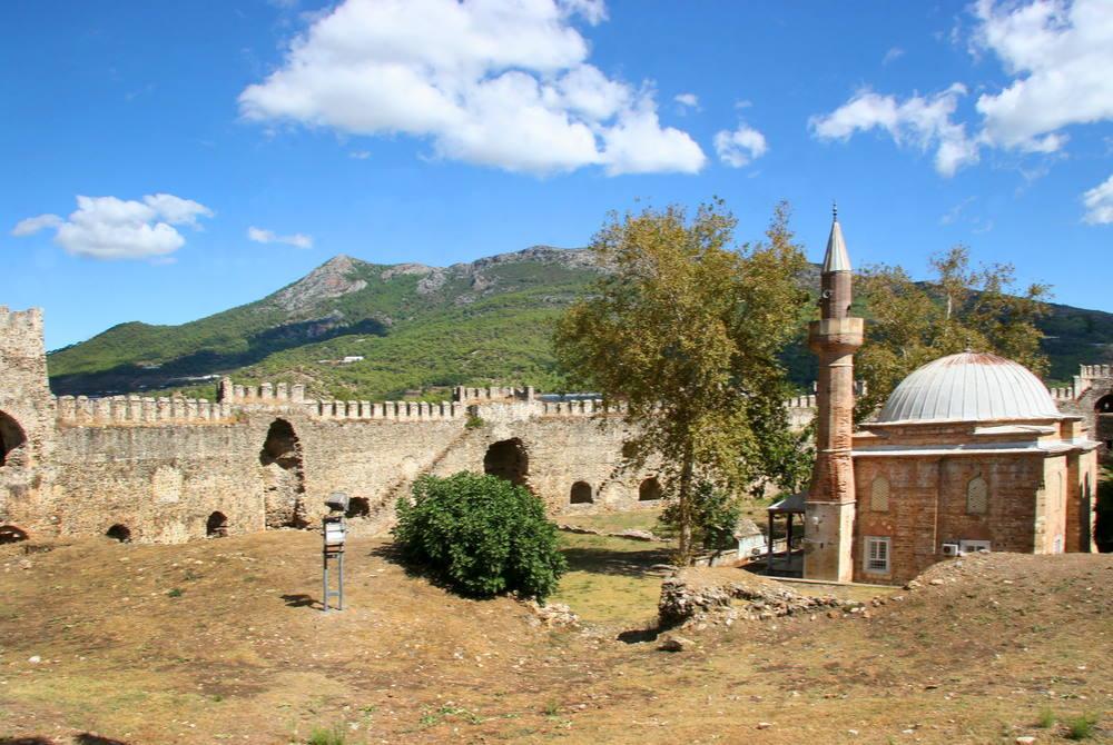 ınner courtyard of Mamure Castle in Mersin in Turkey